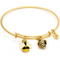Damen Chrysalis PVD Gold überzogen NATUR BUMBLE BEE EXPANDABLE BANGLE
