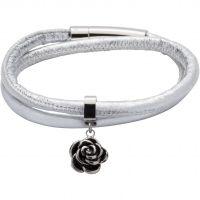 Ladies Unique Black Ion-plated Steel & Leather Bracelet B359SG/19CM
