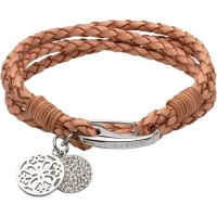 Ladies Unique Stainless Steel & Leather Bracelet B361NA/19CM
