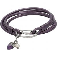 Ladies Unique Stainless Steel & Leather Bracelet B366BE/19CM