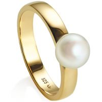 Ladies Jersey Pearl PVD Gold plated Viva Ring Size O