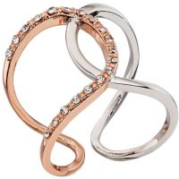 Ladies Fiorelli Two-Tone Steel and Rose Plate Ring