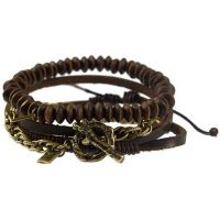 Mens Icon Brand Gold Plated Wrapped Up Combo Bracelet B1207-BR-COM-BRN