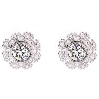 Ladies Ted Baker Silver Plated Seraa Crystal Daisy Lace Stud Earring