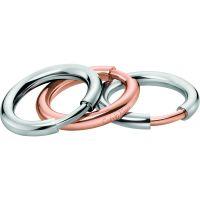 Damen Calvin Klein zwei-Tone Steel und Rose Plate Disclose Ring Set Größe N.5