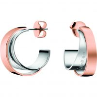 Ladies Calvin Klein Two-Tone Steel and Rose Plate Unite Earrings