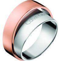 Damen Calvin Klein zwei-Tone Steel und Rose Plate Unite Ring Größe P