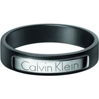 Herren Calvin Klein Schwarz ionenbeschichteter Stahl Dapper Ring Größe S