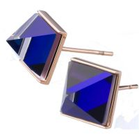 Ladies STORM Rose Gold Plated Gemza Blue Earrings