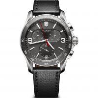 Herren Victorinox Schweizer Militär Chrono Grau Dial Schwarz Leder Armband Uhren