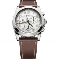 Herren Victorinox Schweizer Militär Infantry Herren Silber Weiß Dial Braun Leder Armband Chronograf Uhren