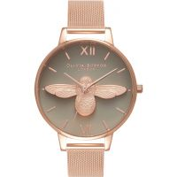 Damen Olivia Burton 3D Bee Rose Gold Mesh Watch OB16AM117