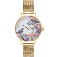 femme Olivia Burton English Garden Gold Mesh Watch OB16ER12
