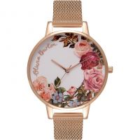 Femmes Olivia Burton English Jardin Rose Or Maille Montre
