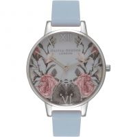 Ladies Olivia Burton Enchanted Garden Chalk Blue & Silver Watch