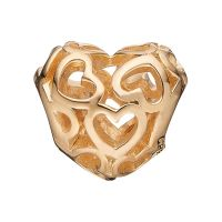 Ladies Christina Gold Plated Sterling Silver Heart Beat Love Bead Charm 623-G01