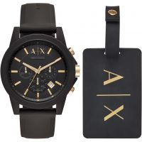 Mens Armani Exchange Luggage Tag Gift Set Chronograph Watch