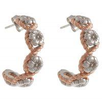 Ladies Olivia Burton Rose Gold Plated & Sterling Silver Flower Show Rope Hoop Earrings OBJ16FSE07