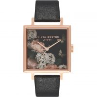 Ladies Olivia Burton Signature Florals Square Dial Black & Rose Gold Watch