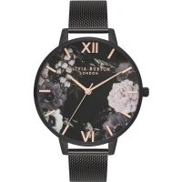 Ladies Olivia Burton After Dark IP Black Mesh Floral Watch