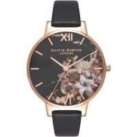 Ladies Olivia Burton Marble Floral Black & Rose Gold Floral Watch