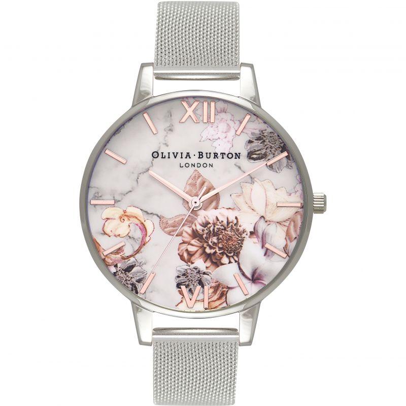 Ladies Olivia Burton Marble Floral Rose Gold Amp Silver Mesh