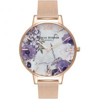 Ladies Olivia Burton Marble Florals Rose Gold Mesh Watch