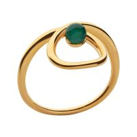 Ladies Links Of London Gold Plated Sterling Silver Serpentine Green Chalcedony Stone Ring N
