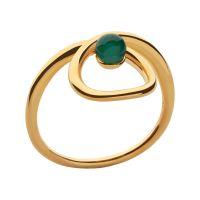 Damen Verbindungen Of London vergoldet Sterlingsilber Serpentine Grün Chalcedony Schmuckstein Ring P