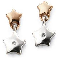 Ladies D For Diamond Sterling Silver Star Earrings