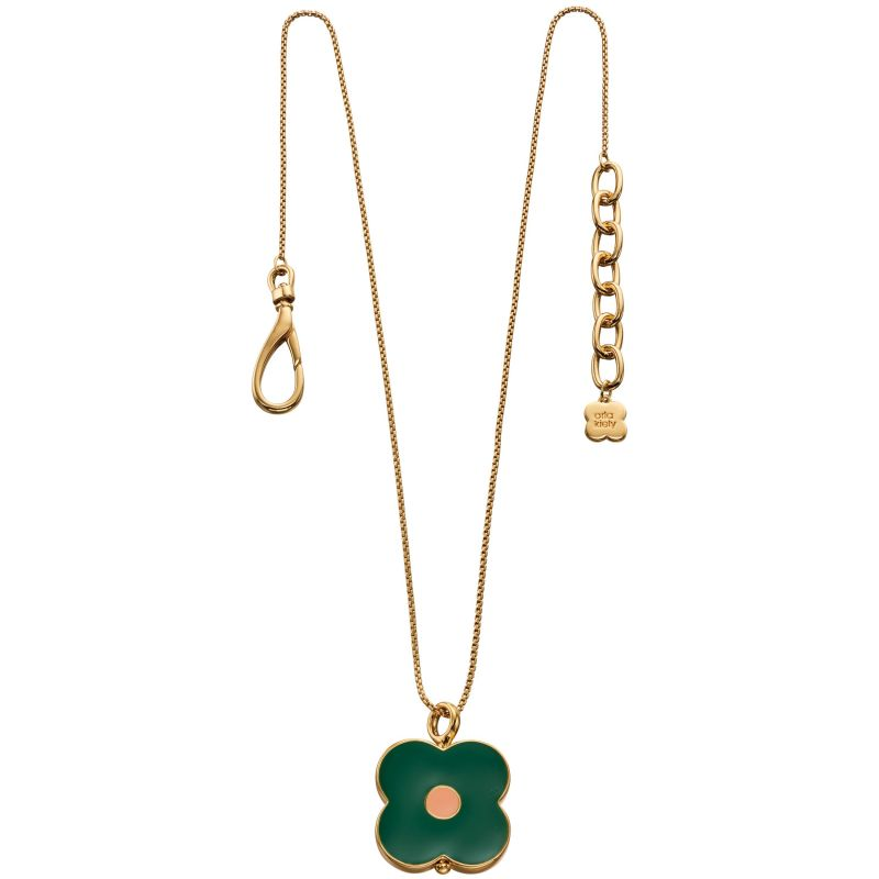 Ladies Orla Kiely Gold Plated Abacus Flower Short Necklace N4155