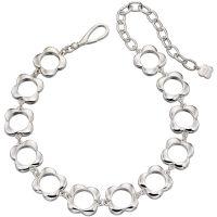 Damen Orla Kiely Silber Plated offen Blume Choker Halskette