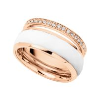 Ladies Fossil Rose Gold Plated Ring Size P JF01123791508