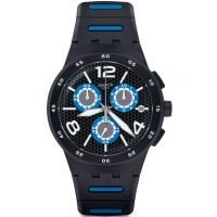 Herren Swatch Black Spy Chronograph Watch SUSB410
