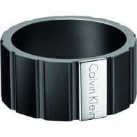 Mens Calvin Klein Black Ion-plated Steel Size R/S Plate Ring Size S