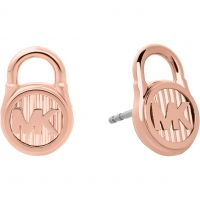 Ladies Michael Kors Rose Gold Plated Logo Stud Earrings
