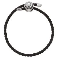 Ladies Persona Sterling Silver Single Wrap Black Leather Adjustable Bracelet