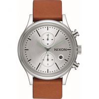 Herren Nixon The Station Chrono Leather Chronograph Watch A1163-2853