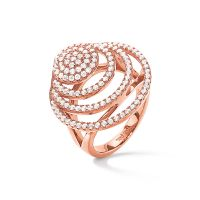 Ladies Folli Follie Rose Gold Plated Cyclos CZ Ring Size N