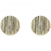 Ladies Karen Millen Gold Plated Textured Disc Stud Earrings KMJ1116-30-03