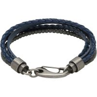 Mens Unique & Co Gunmetal PVD Leather and Haematite Multi Strand Bracelet B387BLUE/21CM