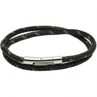Mens Unique & Co Stainless Steel and Leather Double Wrap Bracelet