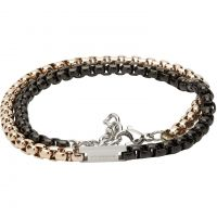 Unique Heren Black and Gold IP Double Wrap Bracelet Roestvrijstaal LAB-125RO