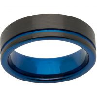 Mens Unique & Co Base metal 7mm Tungsten Carbide with Blue and Black IP Size U