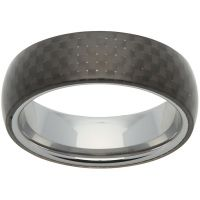 Unique Heren 7mm Tungsten Carbide and Carbon Fibre Ring Size U TUR-62-62