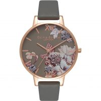 Ladies Olivia Burton Marble Florals Dark Grey & Rose Gold Watch