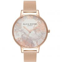 Ladies Olivia Burton Abstract Florals Rose Gold Mesh Watch OB16VM15