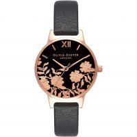 femme Olivia Burton Lace Detail Black & Rose Gold Watch OB16MV75