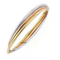 Jewellery Multi colour gold Russian Three-Tube Bangle