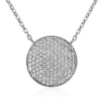 Jewellery 9ct White Gold Pave set CZ Necklace 17 inches/43cm